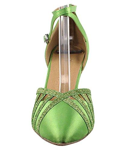 Zeer Fijne Ballroom Latin Tango Salsa Dansschoenen Voor Dames Sera3530 2,5 Inch Hak + Opvouwbare Borstelbundel Groen Satijn En Groen Stardust Trim