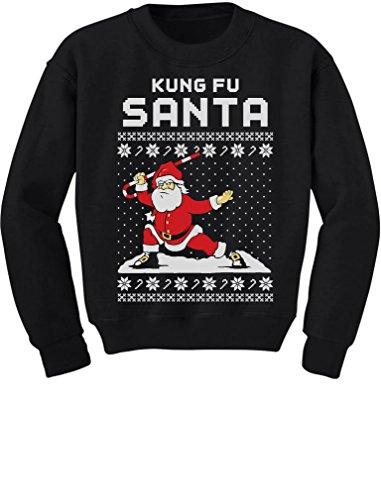 TeeStars - Kung Fu Santa Ugly Christmas Sweater Funny Youth Kids Sweatshirt X-Large Black (Kids Ugly Christmas Sweater)