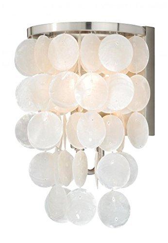Capiz Shells Wholesale - Vaxcel W0151 Elsa Capiz Shell 1 Light Vanity Light, Satin Nickel Finish