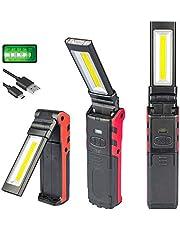 COB-LED-werklicht, oplaadbare USB-werklamp met magnetische basis en hangende haak, COB-superheldere instelbare LED-werklicht inspectielamp handfakkel, voor buitenwerklamp