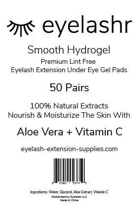 (50 Pairs) Under Eye Gel Pads for Eyelash Extensions - Premium Smooth Lint Free Patches with Vitamin C and Aloe Vera - Hydrogel Eye Patch - Lash Extension Supplies - Moisturizing Eyepads