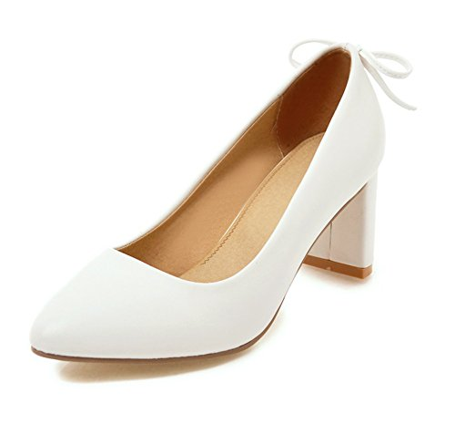 Spitze Top Aisun Damen mit Klassisch Weiß Pumps Low High Heels Blockabsatz Zehen Schleife AwqIwt