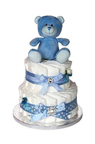 Amazon.com: Regalo de la firma azul bebé tarta de pañales de ...