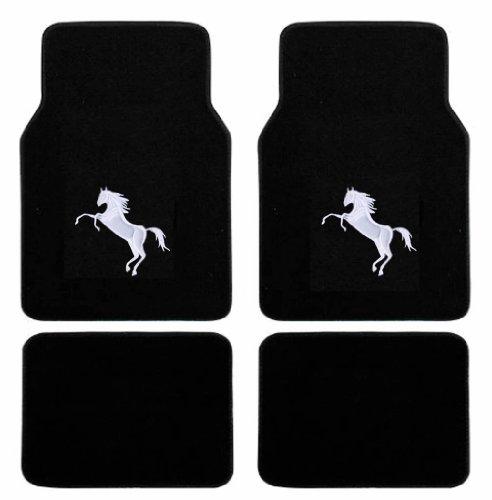 4 Pieces White Pony Mustang Horse Logo Premium Black Carpet Front & Rear Floor Mats Set Universal