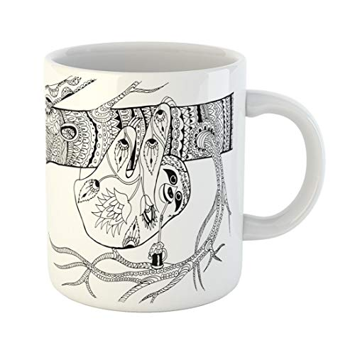 Semtomn Funny Coffee Mug Sloth on Branch Patterns for Coloring Freehand Sketch Drawing Adult 11 Oz Ceramic Coffee Mugs Tea Cup Best Gift Or Souvenir