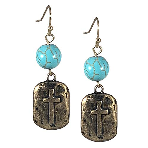 - NoraJae Gems Cross Earrings- Rectangle Hammered Gold Cross Dangle Earrings with Turquoise Bead Accent