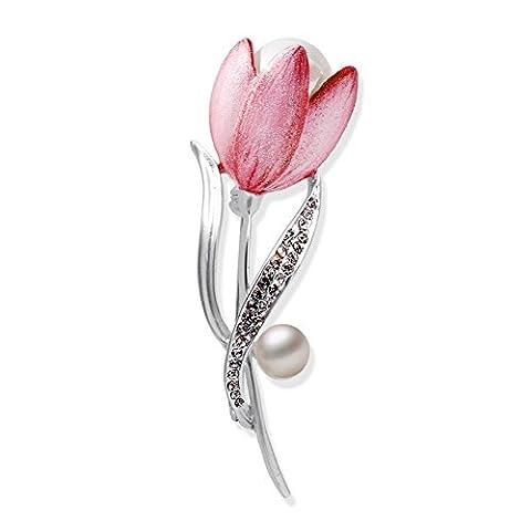 Women Flower Wreath Pearl Crown Enamel Paint Wedding Bride Cubic Zircon Brooch Pin for Christmas - Enamel Floral Brooch Pin
