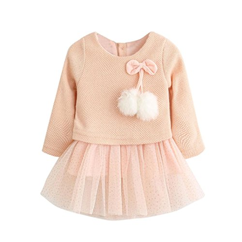 KaiCran Lace Dress For Baby Girls Knitted Bow Newborn Tutu Princess Dress For Kids (Pink, 18-24M) (Lace Wool Sweater)