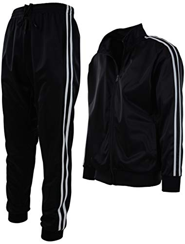 Mens Athletic 2 Piece Tracksuit Set (L, 888-Black)
