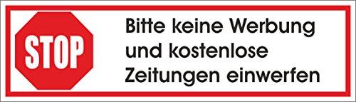 Keine Werbung 1 Weisser Briefkastenaufkleber 70x20 Mm Aufkleber