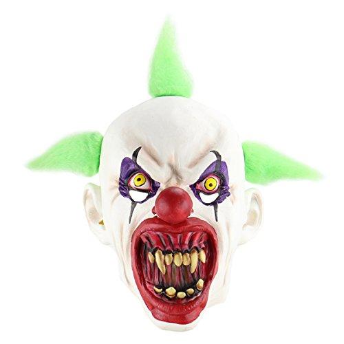 Amosfun Halloween Cosplay Mask Horrific Mask Creepy Terrifying Toothy Bloody Mouth Clown -