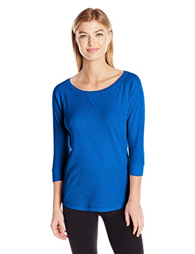 Calvin Klein Performance Women's Tic Tac Toe 3/4 Sleeve Raglan Shirttail Pullover, Laguna, XL