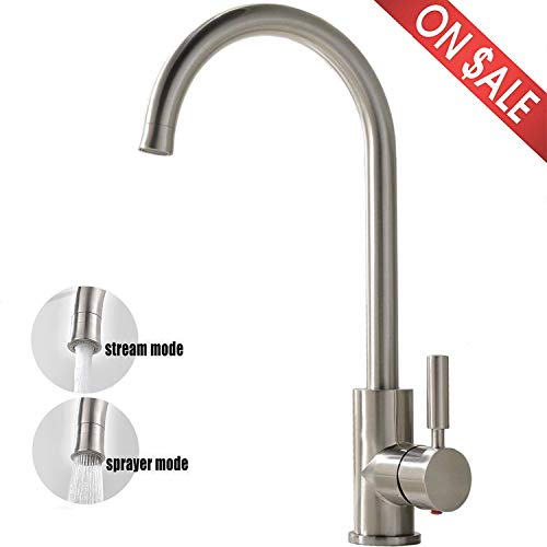 Comllen Best Commercial Stainless Steel Single Lever Kitchen Sink Faucet, Bar Sink Faucet with Two-function Nozzle Brushed Nickel Finish ()