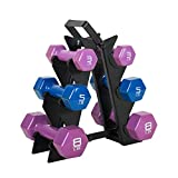 WF Athletic Supply Dumbbell Set with Storage Rack (32lb Vinyl Dipped Dumbbell Set)