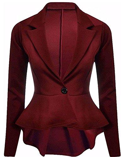 Womens Fashions Frill Long Peplum Plain Ruffle Coat Ladies Flared Sleeve Jacket One Fancy Blazer Wine 26 8 Islander Button Top UK 4fw5xqwO