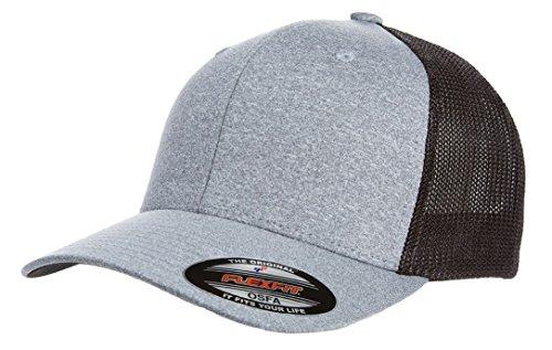 Retro Fitted Hat Cap (2040USA Flexfit Melange Trucker Mesh Fitted Hat (Black))