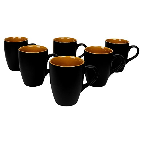 Kittens Black Matt Finish with Inside Glossy Mustard Large Coffee Mugs – Set of 6 Price & Reviews