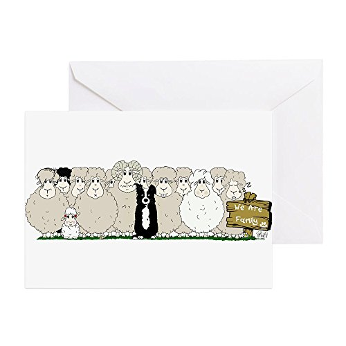 Border Collie Note (CafePress - Sheep Family - Greeting Card, Note Card, Birthday Card, Blank Inside Glossy)