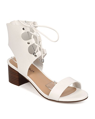 Breckelle's Women Leatherette Peep Toe Gilly Tie Low Heel City Sandal EG10 - White (Size: 7.5)