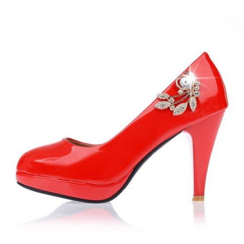 Zapatos Alto Rojo Slip Tacón nbsp;tacón nbsp;de Charol PU on Puntera AllhqFashion Redonda Mujeres R8qawFxw