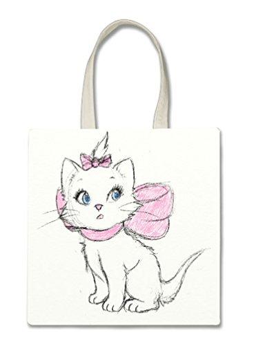 Aristocat Drawn Cute Disney Sketch Printed Design Halloween Trick Or Treat Polyester White Tote Bag 15x16x (Halloween Cat Sketch)