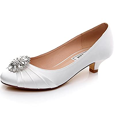 LUXVEER RS-2067-Closed Toe Wedding Shoes with Diamond Flower 3cm
