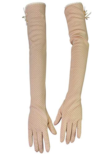 Women Lightweight Sunblock Gloves Summer UV Protection Driving Cotton Gloves,Long style_Khaki Cotton Extra Long Gloves