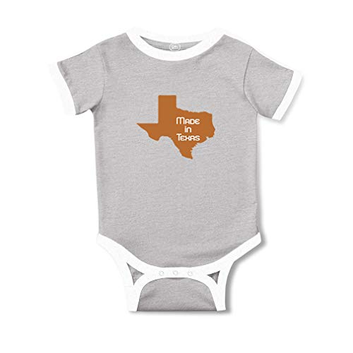 Made in Texas Short Sleeve Taped Neck Boys-Girls Cotton Baby Soccer Bodysuit Sports Jersey - Oxford Gray, 6 Months (Texas Baby Onesie In Made)