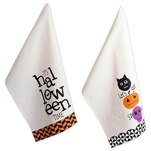 DII 100% Cotton 18x28 Halloween Holiday Dish Towels Set of 3-All Hallows Eve, Set of 2, Dishtowels