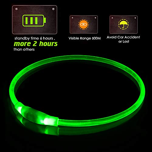 KABB LED Dog Collar, USB Rechargeable, Glowing pet Dog Collar for Night Safety, Fashion Light up Collar for Small Medium Large Dogs ... (Green)