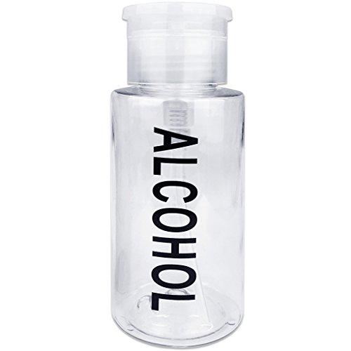 Beauticom Push Down Alcohol Dispenser- Clear Bottle- Labeled - 6 Oz Bottle (Pump Menda)