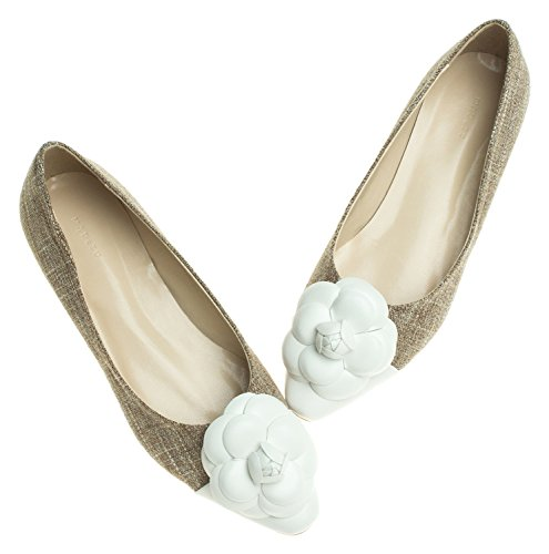 Toe Ballet Cap White Womens Brown Flower Ballerinas Flower Flats AnnaKastle qOItnBn