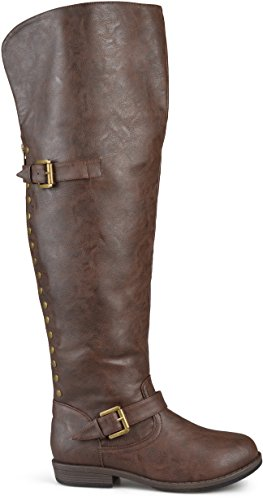 Sugar Casual Boots - Brinley Co Women's Sugar Over The Knee Boot, Brown, 9.5 Wide Shaft US