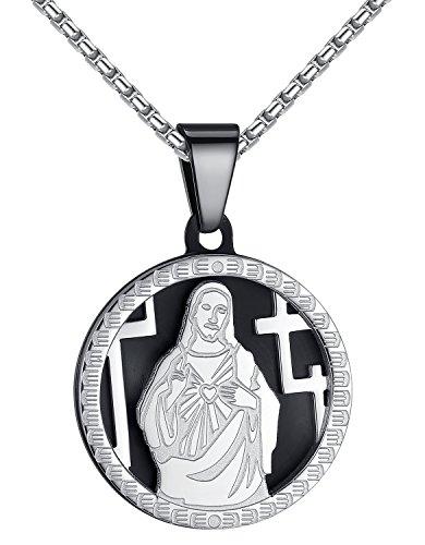 Stainless Steel Small Jesus Christ Medallion Pendant Necklace, Unisex, 21
