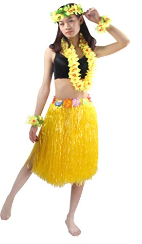 Luau Outfits For Adults (Good Quality 5pcs/ set Adult Hawaiian Luau 60cm yellow grass hula skirt)