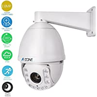 A-ZONE 1080P AHD PTZ Dome Camera 18x Optical Zoom, 2.0MP Waterproof Night vision up to 100M, Indoor/Outdoor CCTV surveillance Camera, High Speed Security Camera Coaxial System, Free App
