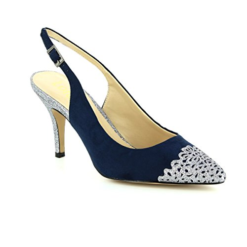 Lotus Arlind Navy & Pewter Glitz Sling-Back Court Shoes Navy & Pewter H89wKth6
