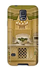 Premium Galaxy S5 Case - Protective Skin - High Quality For Enameled White Cabinets In Bold Green Kitchen With Marble Countertops