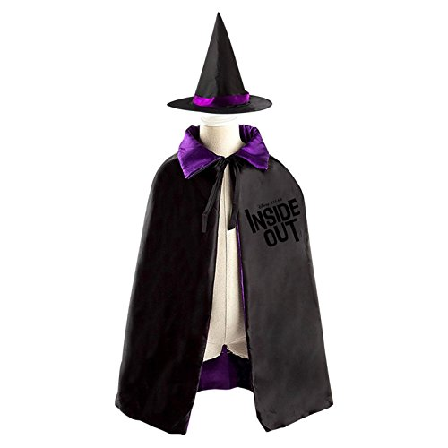 Inside Out (2015) Logo Halloween Wizard Witch Kids Cape With Hat Party Cloak (Girls Inside Out Joy Classic Costumes)