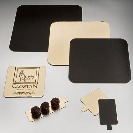 Garcia de Pou 50 Unidad Dos Laterales bandejas para pastelería, cartón, oro \ negro