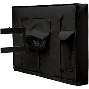 "Outdoor TV Cover - Weatherproof Universal Protector for 40"" - 42"" LCD, LED, Plasma Television Screens. Built In Bottom Seal and Remote Storage. Compatible with Standard Mounts and Stands - Black"