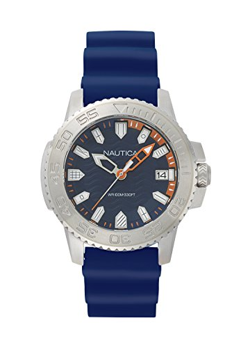 Nautica Men's Keywest Stainless Steel Japanese-Quartz Watch with Silicone Strap, Blue, 22 (Model: NAPKYW001