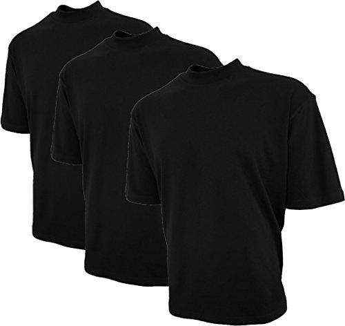 Good Life Brand 100% Cotton Mock Turtleneck Shirt Short Sleeve Pre-Shrunk 3-Pack (XXL, Black 3-Pack)