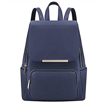 COOFIT Black Faux Leather Backpack for Girls Schoolbag Casual Daypack (Blue)