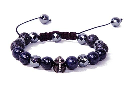 Bella.Vida Mens Bracelet 10mm Galaxy Blue Sandstone Hematite Lava Bead Handmade Adjustable Bracelet(Holy Knight)