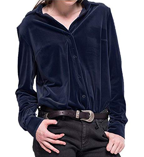 ASMAX HaoDuoYi Womens Turn-Down Collar Long Sleeve Velvet Boyfriend Shirt Dark Blue ()