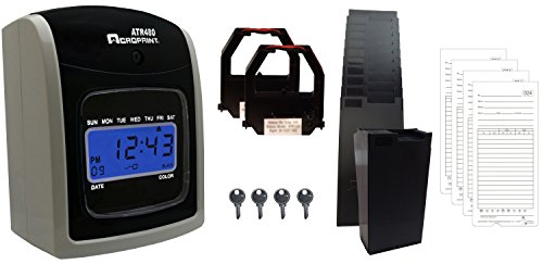 (Acroprint ATR480 Automatic Totalizing Time Clock Bundle, 200 Cards, 2 Ribbons, 2 Racks, 4 Keys)
