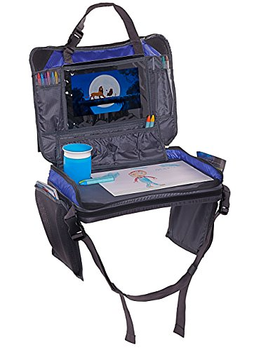 The Original Kids Travel Tray - Improved Version 3.0 - 4 in 1 - iPad/Tablet & Cup Holder - Backseat Organizer + Snack Tray & Activity Desk, Carry All Bag - Easy to Clean & Durable (Blue) (Wood Stains Of Out White Getting)