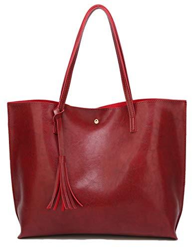 Women's Soft Leather Tote Shoulder Bag from Dreubea, Big Capacity Tassel Handbag Red (New Style)
