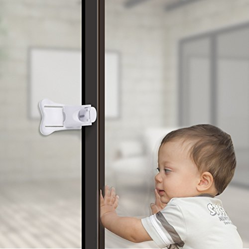 Sliding Door Lock for Child Safety, Baby Proof Doors & Closets, Childproof Lock for Sliding Closet Cabinet Cupboard Bathroom Kitchen Doors Patio Glass Windows, No Tools Needed (Set of 4, White) by WeHome